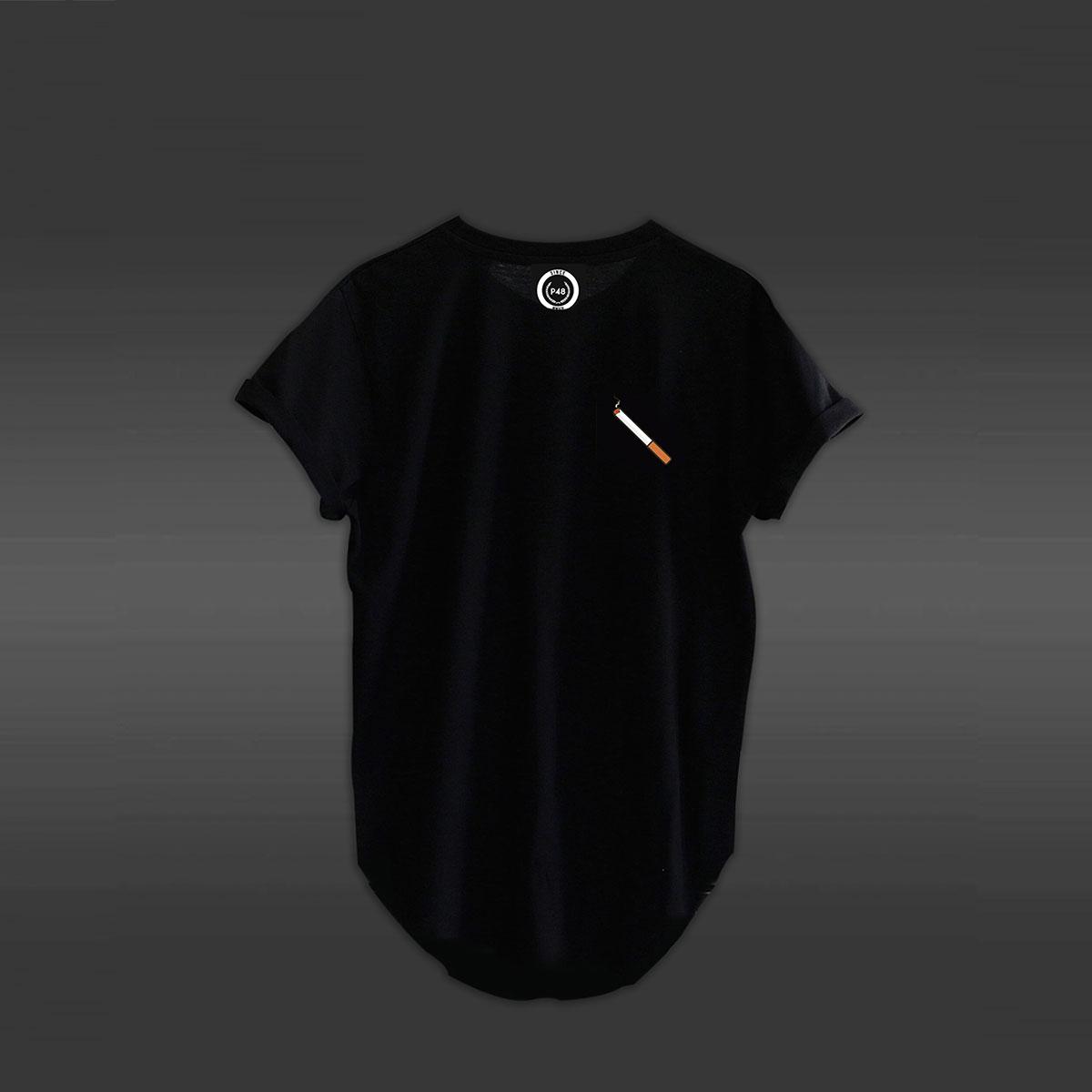 Cigarette Curved Hem T-shirt - Black