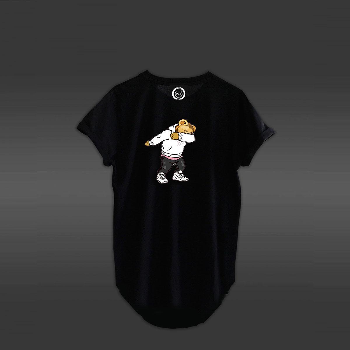 Dab Bear Curved Hem T-shirt - Black