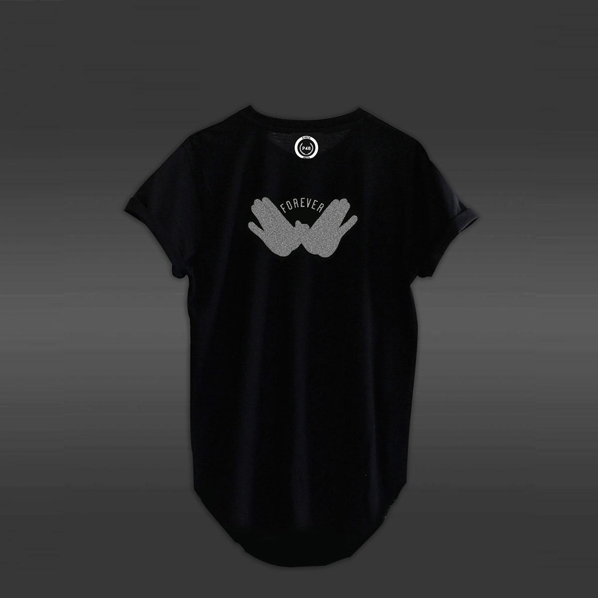 Forever Curved Hem T-shirt - Black