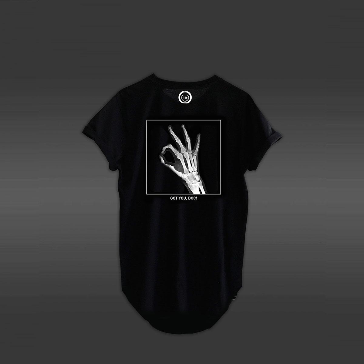 Got You Doc Curved Hem T-shirt - Black