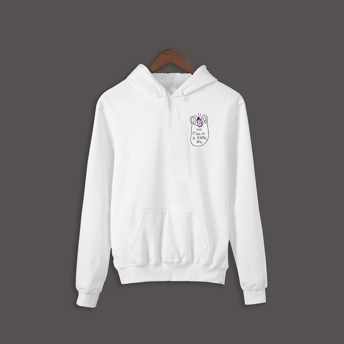 Put it all in a plastic bag Hoodie - White