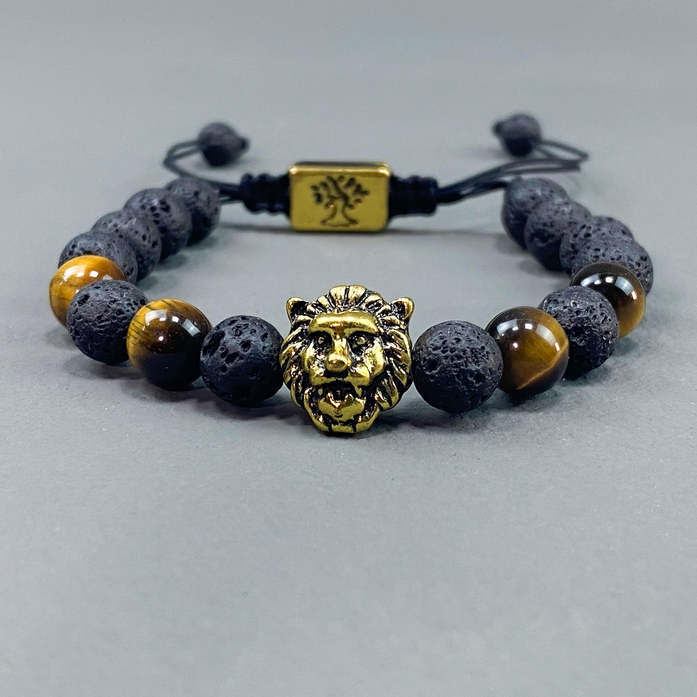 Golden lion beads bracelet - Black