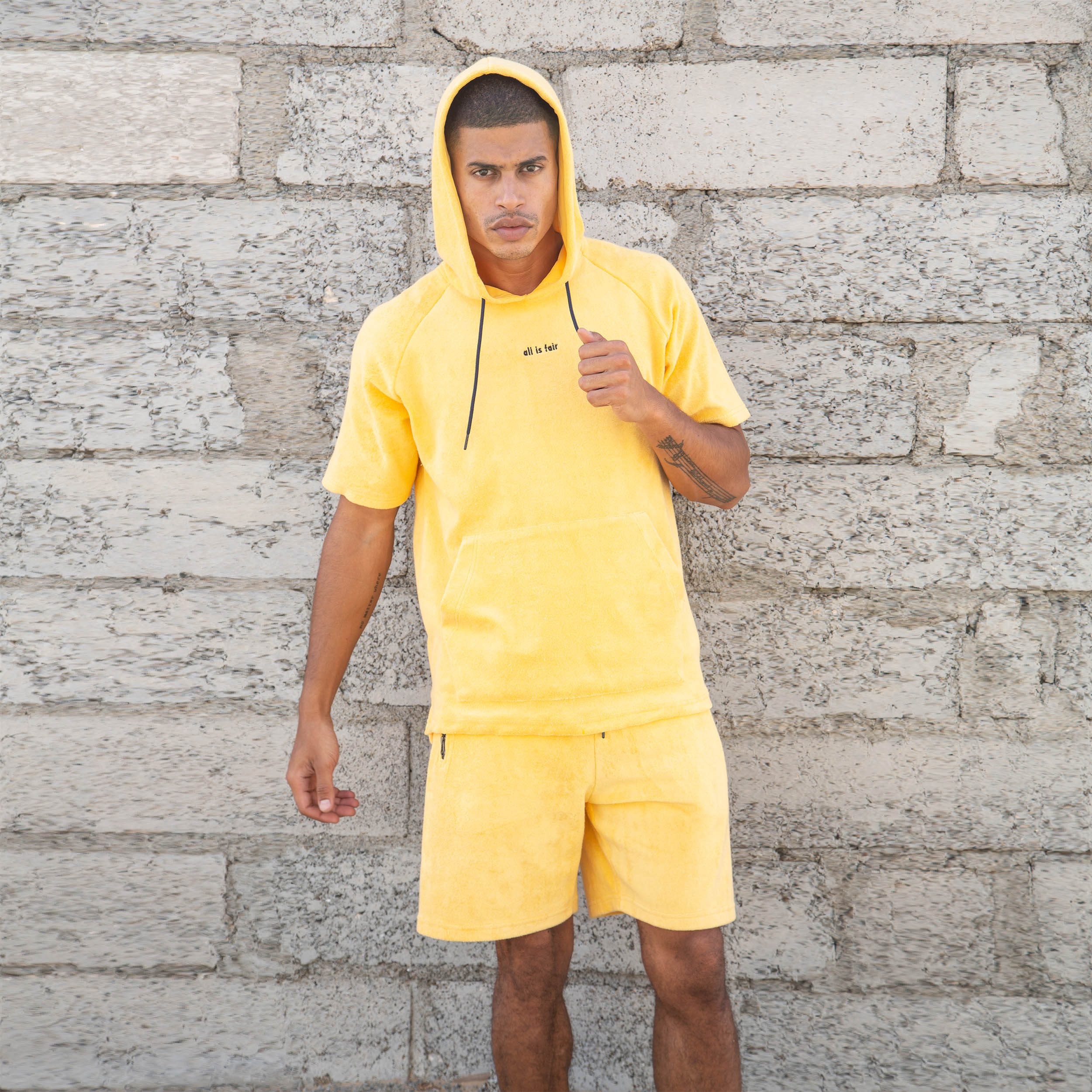 Short-sleeve towel hoodie set - Dark Yellow