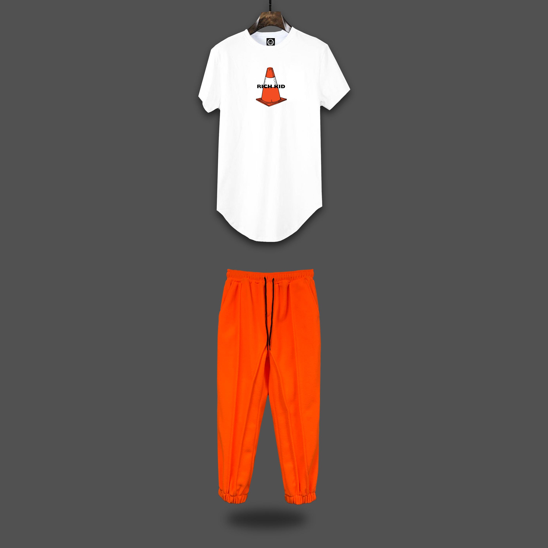 Rich Kid set - white & orange