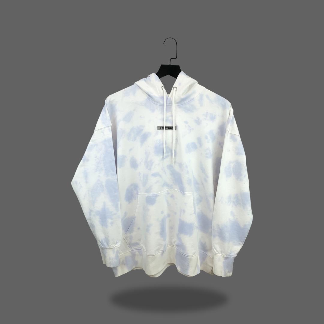 Oversize tie dye hoodie - White & Blue