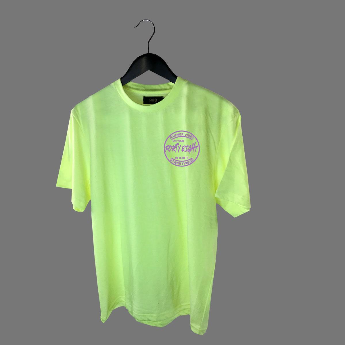 Round neck Summer Vibes T-shirt - Neon Yellow