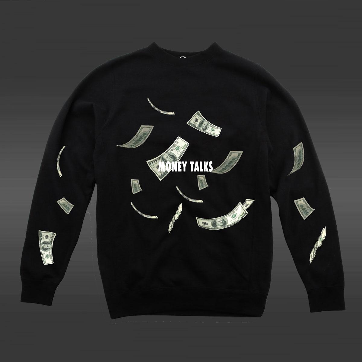 Money Talks Crew Neck Sweater - Black