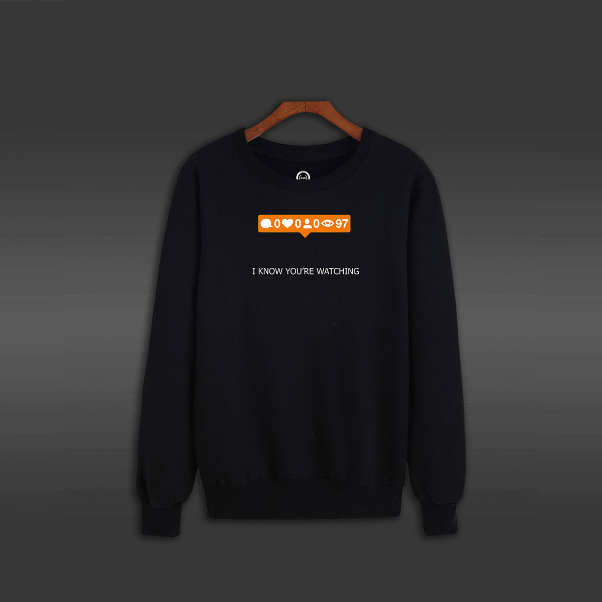 I Know You Are Watching Crew Neck Sweater - Black