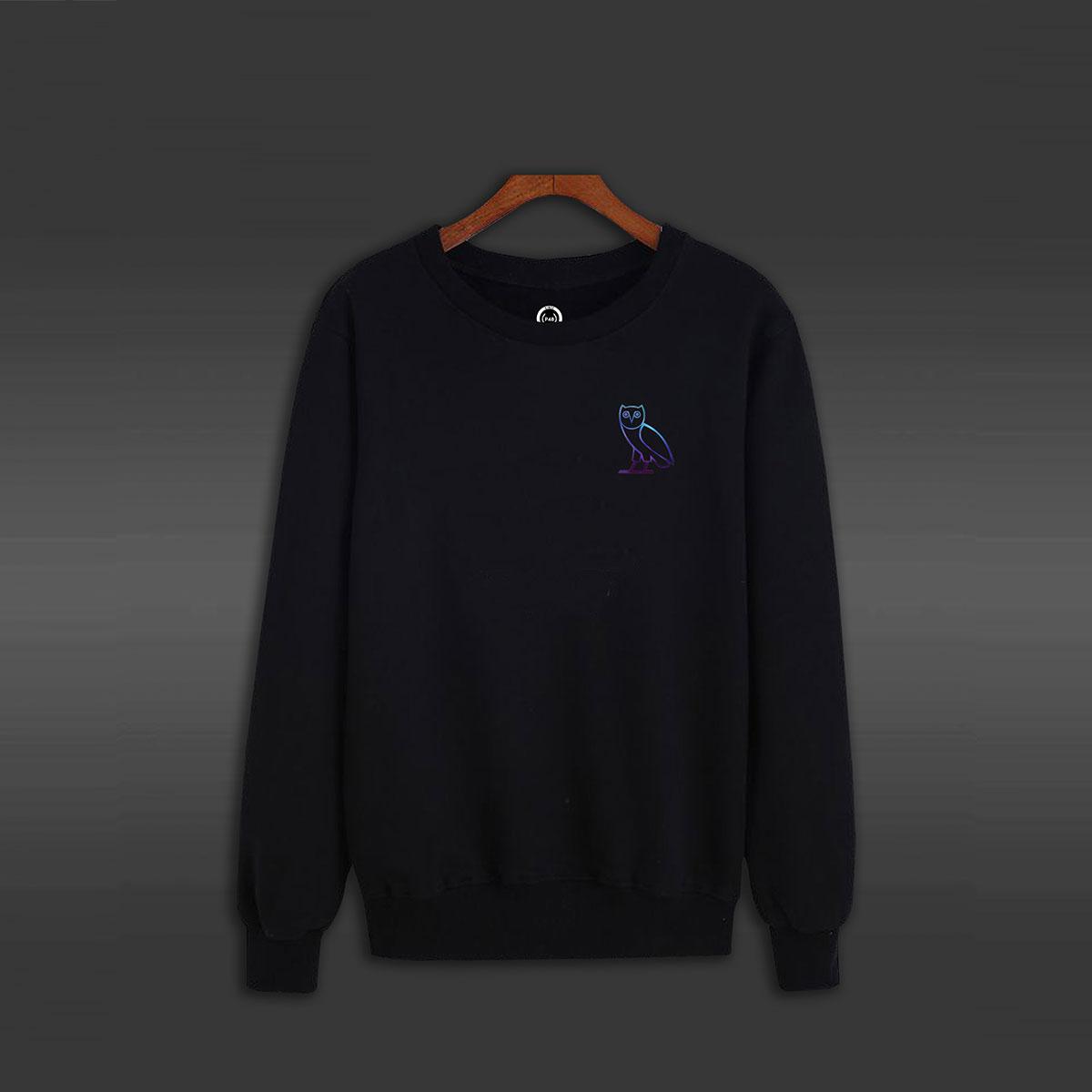 Owl Crew Neck Sweater - Black