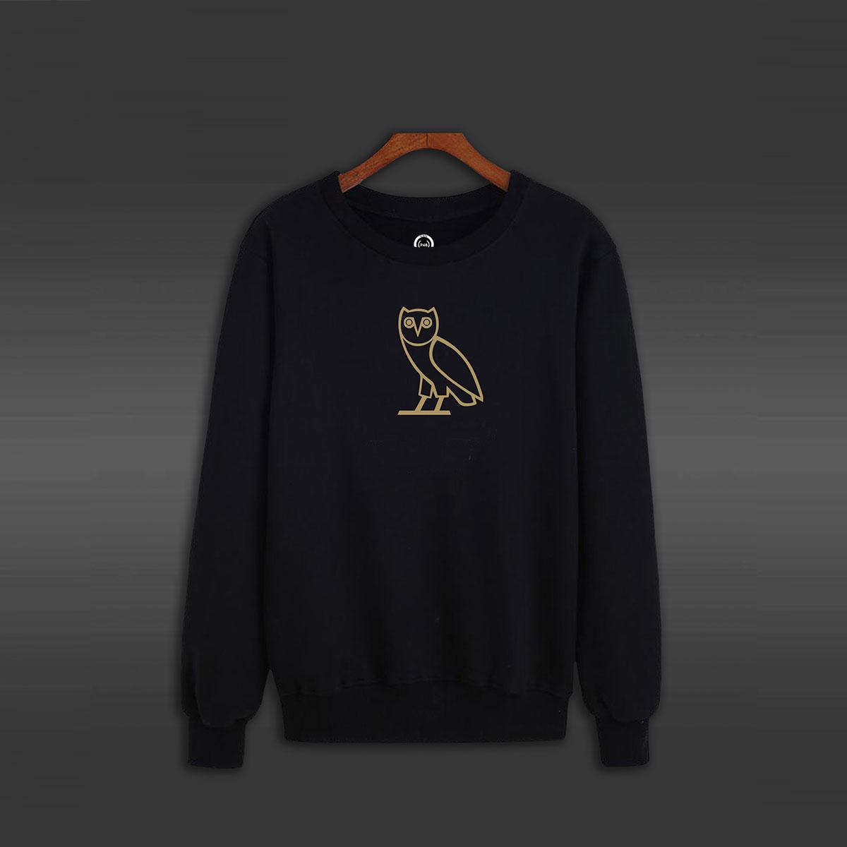 Golden Owl Crew Neck Sweater - Black
