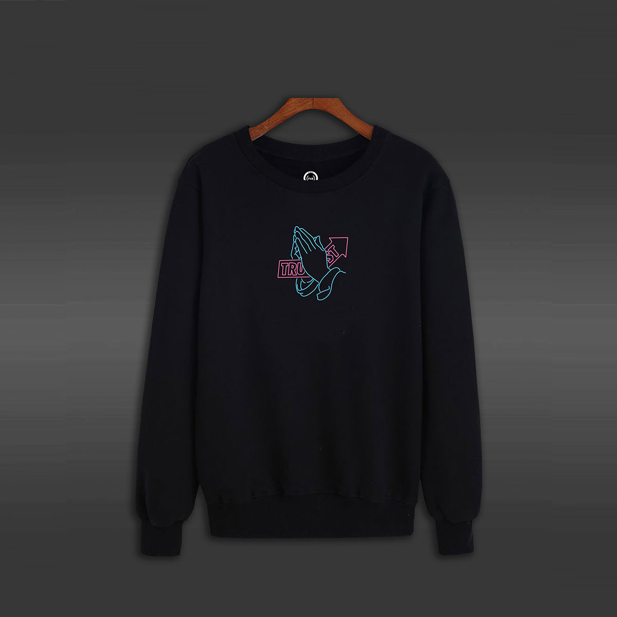 Trust Pray Hand Crew Neck Sweater - Black