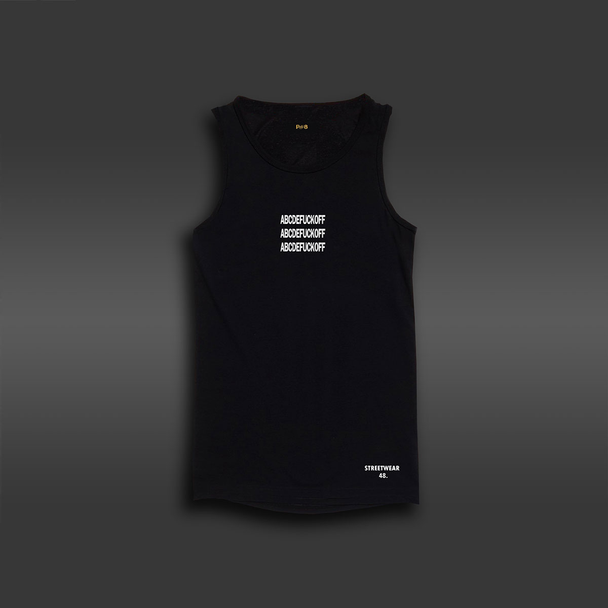 ABCDEF*K OFF Long-line Tank - Black