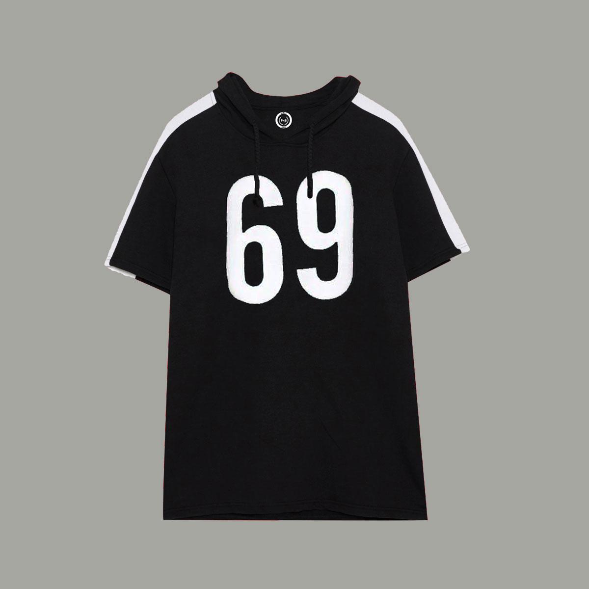69 Short Sleeve Hoodie - Black