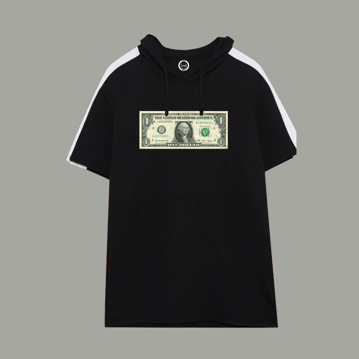 Dollar Short Sleeve Hoodie - Black