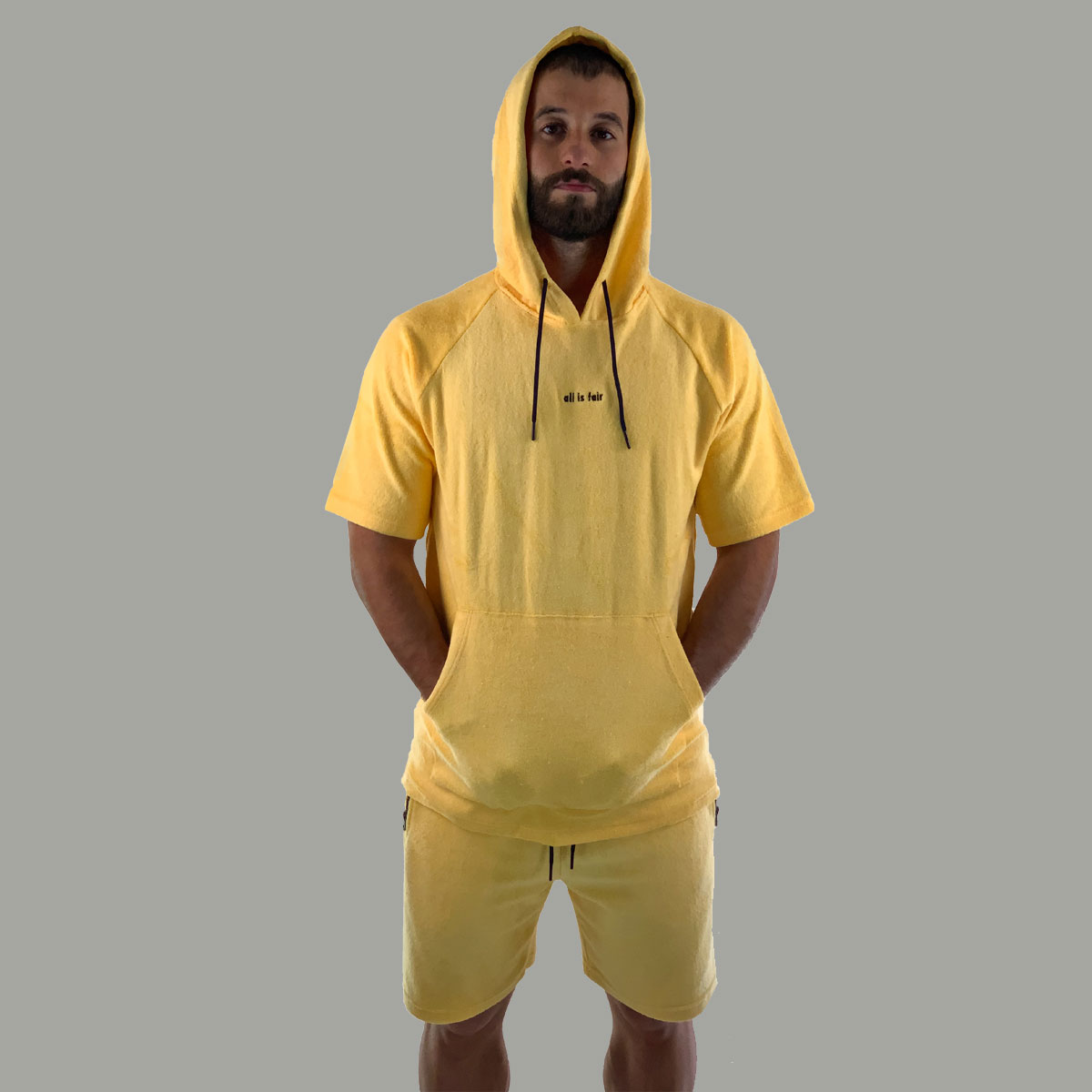 Towel Short Sleeve Hoodie - Yellow