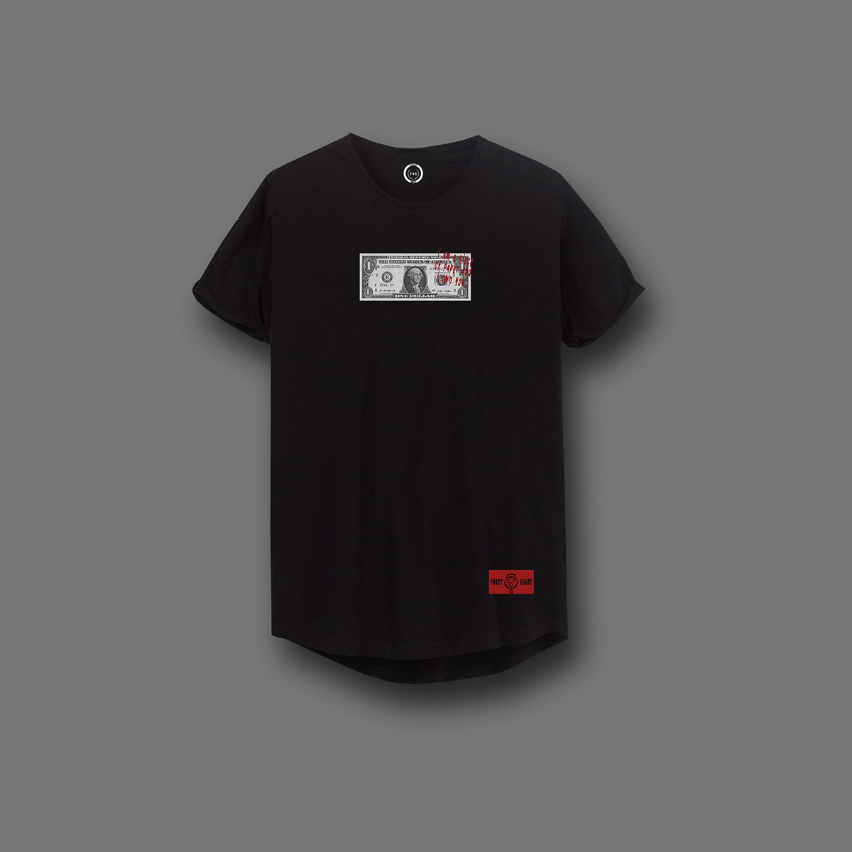 Piece of paper curved T-shirt - Black