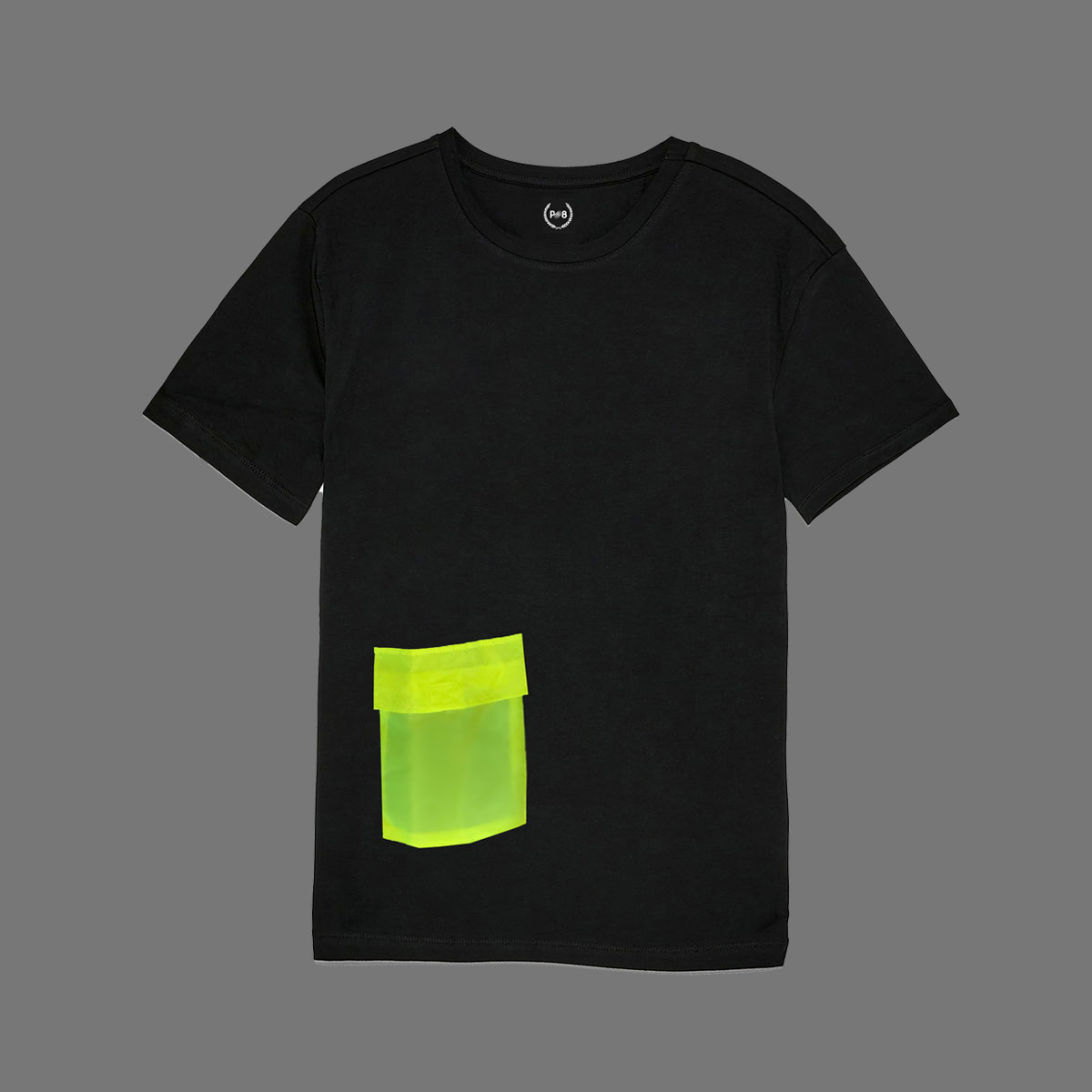 T-shirt with neon green pocket - Black