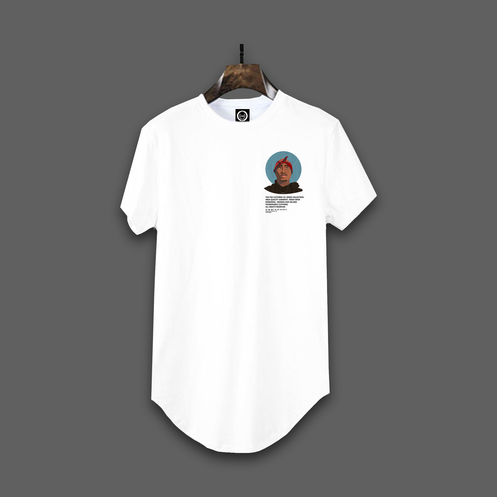 2pac curved hem t-shirt - White